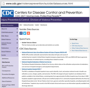 CDC Suicide data sources